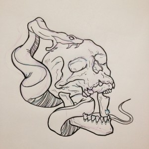 Skull and snake lazyness tattoo - Tete de serpent dessin ...